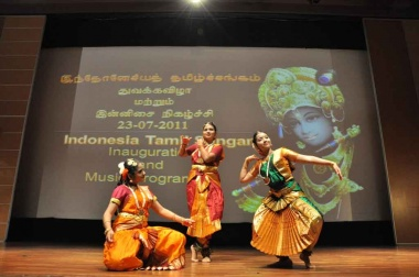 Performance: A Bharata Natyam dance is performed at the opening of the Indonesia Tamil Sangam, a group for Tamils in Indonesia. Courtesy of Indonesia Tamil Sangam